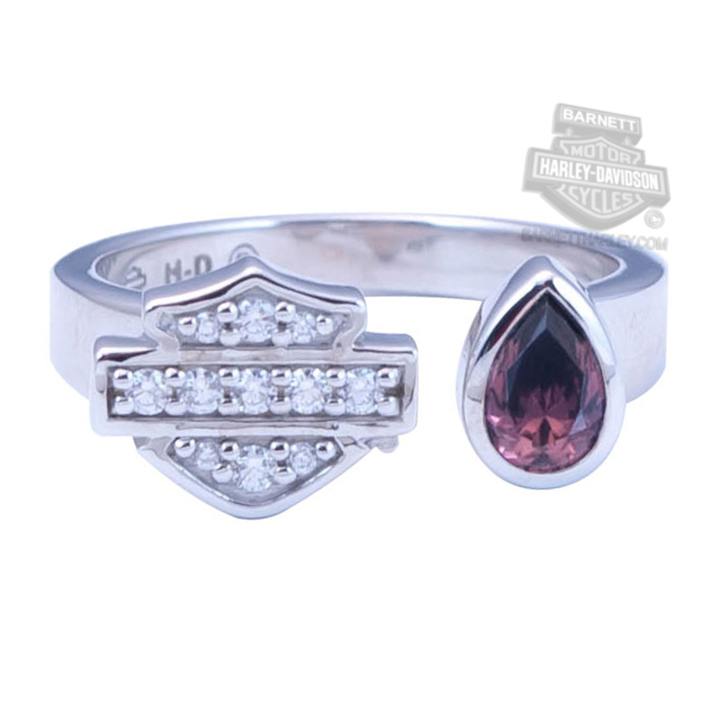 Harley-Davidson® Womens .925 Silver Rhodolite Crystal Teardrop with B&S Split Adjustable Silver Ring by Mod Jewelry®