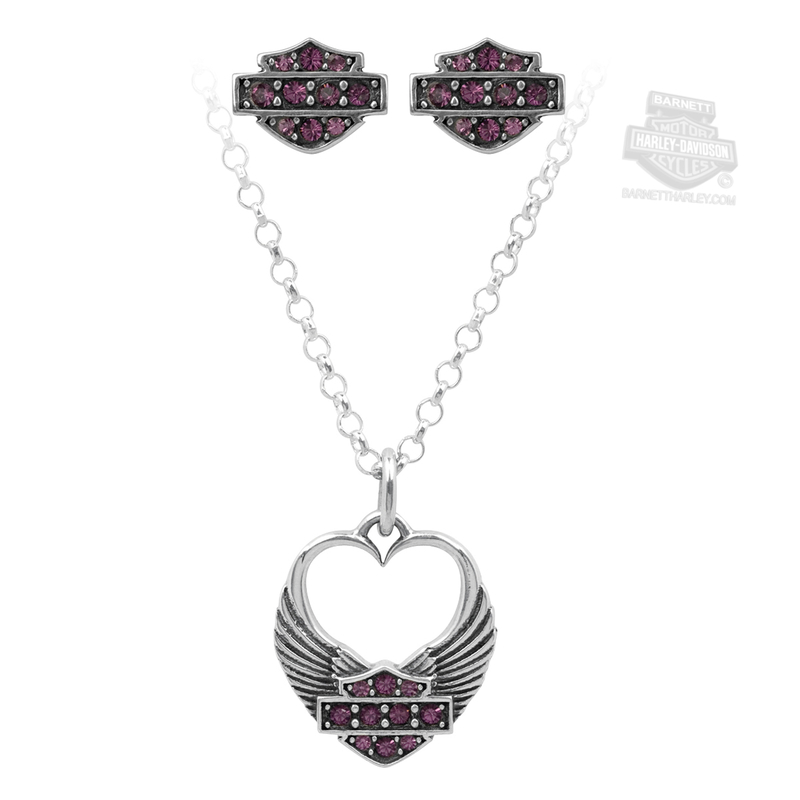Harley-Davidson® .925 Silver Necklace and Earring Gift Set Purple Heart Womens