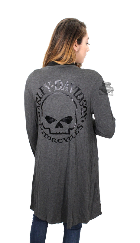 H-D® Womens Breezy Willie G Skull with B&S Quilted Detail Cardigan Charcoal Long Sleeve Sweater by MJCK®