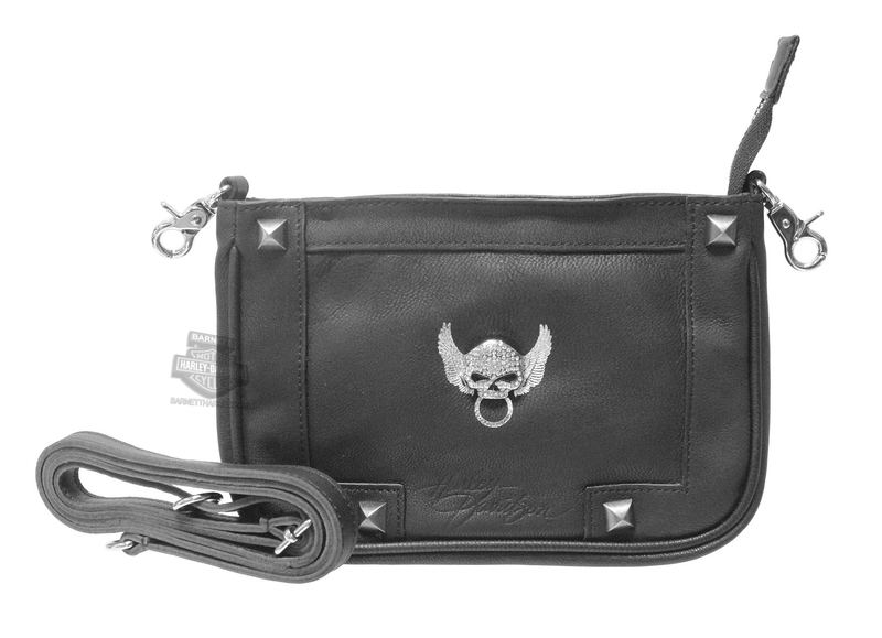 Harley-Davidson® Womens Secret Crystal Willie G Skull Embellished Black Leather Hip Pouch by LODIS