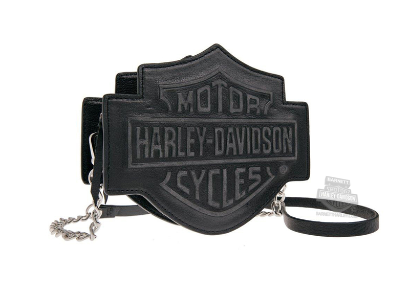 Harley-Davidson® Womens Branded B&S Shaped Crossbody Black Leather Purse by LODIS *36HR*
