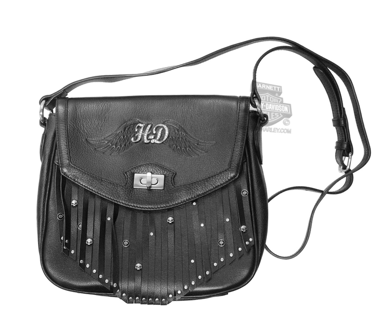 Harley-Davidson® Womens Backbite Fringe Detail with Studs Crossbody Black Leather Purse by LODIS