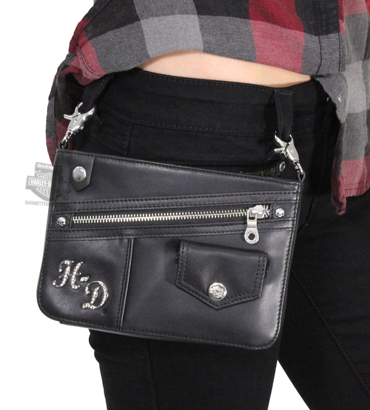 Harley-Davidson® Womens Bowery Bling H-D Black Leather Hip Bag by LODIS