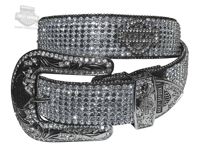 Harley-Davidson® Womens Sunday Morning Western B&S Black Crystal Panel Black Leather Belt by LODIS