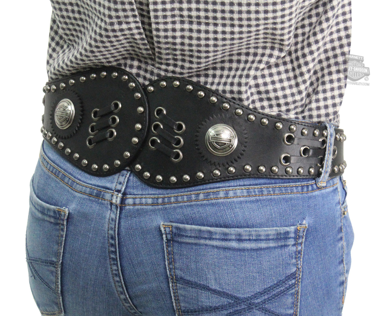 ** SIZE MEDIUM ONLY ** Harley-Davidson® Womens Cinched B&S Conchos with Studs and Lacing Black Leather Belt by LODIS