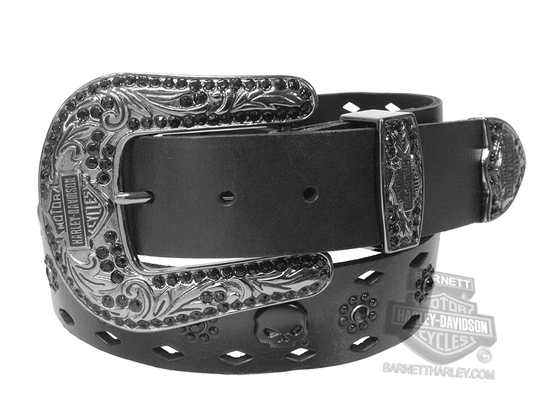 ** BIG SIZES ONLY ** Harley-Davidson® Womens Raven Rider Western Buckle with Black Rhinestones Black Leather Belt