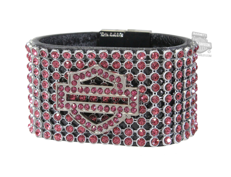 Harley-Davidson® Womens Date Night Rhinestone B&S Pink Leather Wrist Cuff by American Accessories