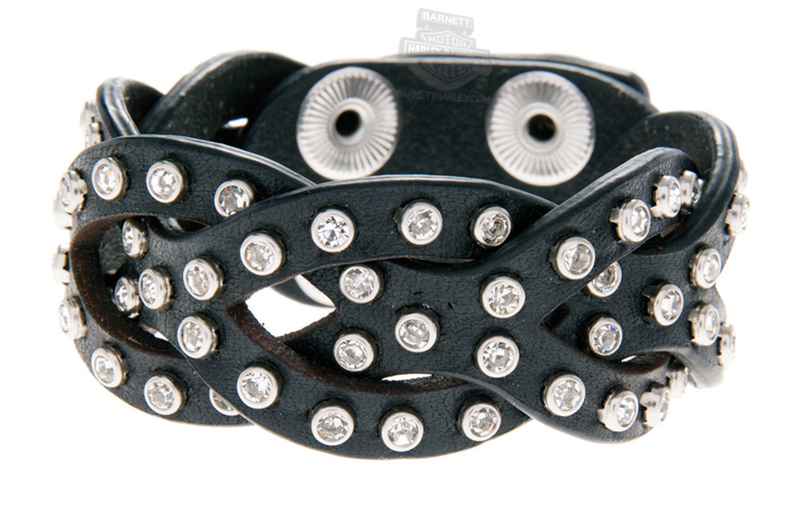 Harley-Davidson® Womens Jade Interwoven with Rhinestones Black Leather Wrist Cuff by LODIS *40th*
