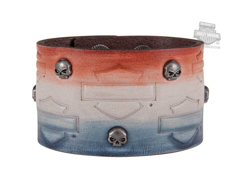 Harley-Davidson® Womens Glory Gal B&S with Willie G Skull Studs Red/White/Blue Leather Wrist Cuff by LODIS