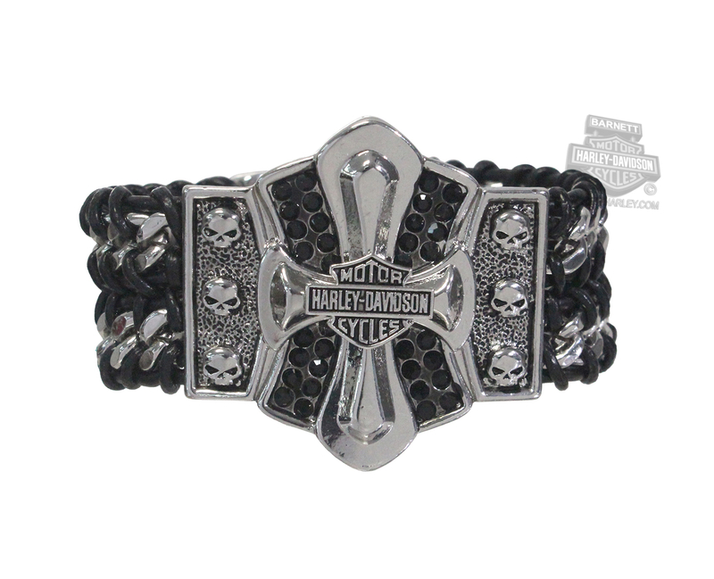Harley-Davidson® Womens Willie G Skull Braid Cross with B&S Black Leather Wrist Cuff by AMERICAN ACCESSORIES