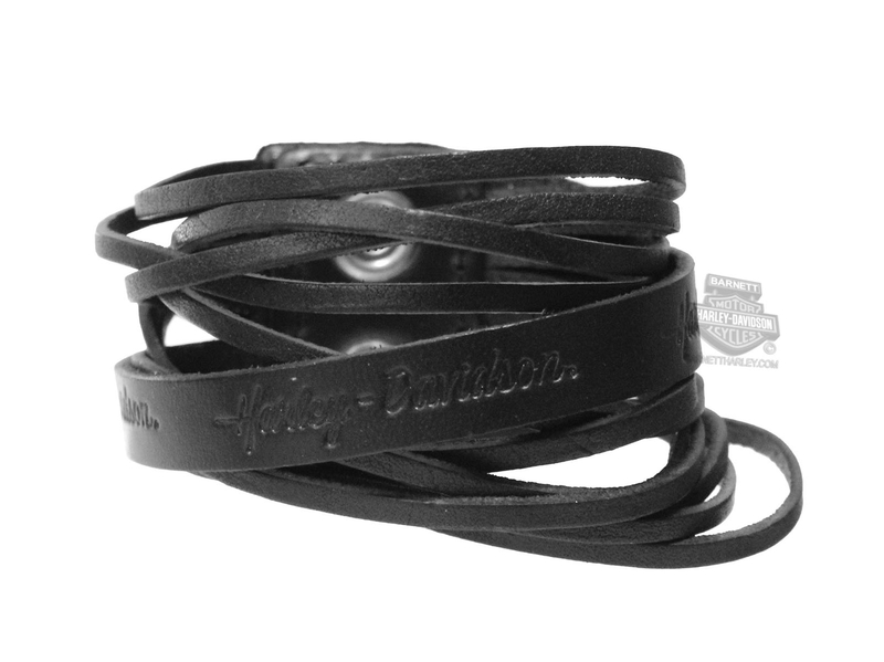 Harley-Davidson® Womens Dare Diva Interlaced Black Leather Wrist Cuff by  American Accessories 32072dfafb9f9