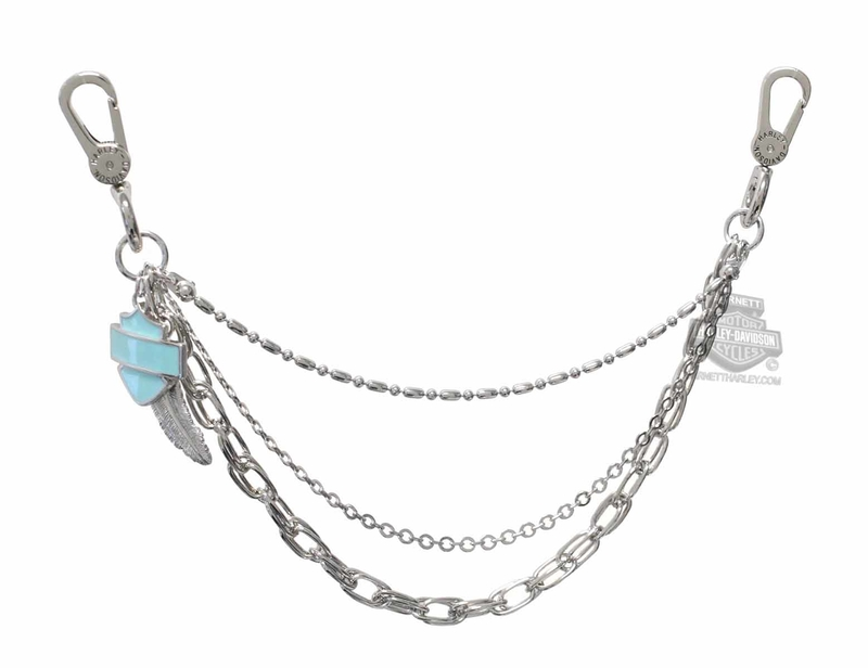 Harley-Davidson® Womens Charmed Spirit Turquoise B&S with Feather Swag Hip Chain by AMERICAN ACCESSORIES *24x3*