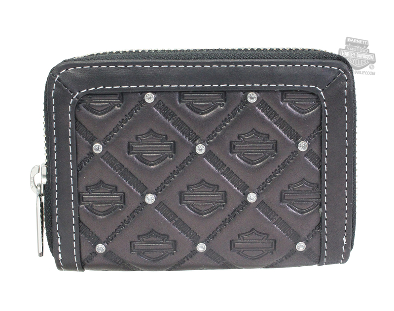 Harley-Davidson® Womens B&S Emboss Zip Around Black Leather Wallet by AMERICAN ACCESSORIES