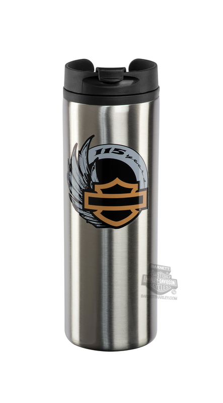 Harley-Davidson® 115th Anniversary Stainless Steel 14 oz. Silver Travel Mug