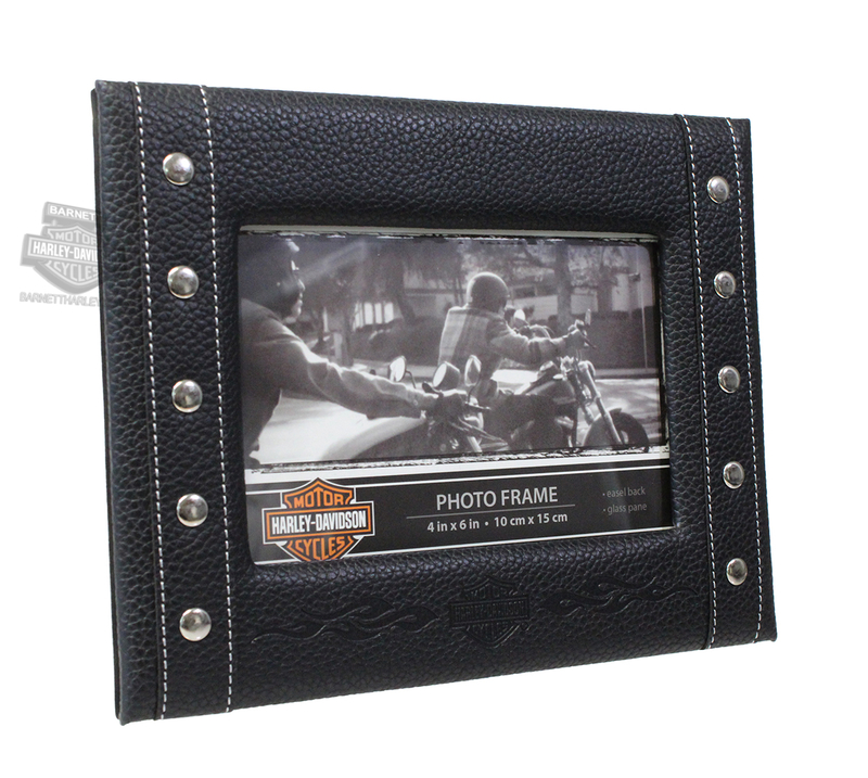 Harley-Davidson® B&S Flames Leatherette 4 x 6 Black Picture Frame