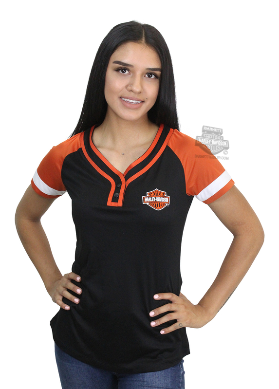 **BIG SIZES ONLY ** Harley-Davidson® Womens Passenger Side B&S Raglan Black Short Sleeve T-Shirt