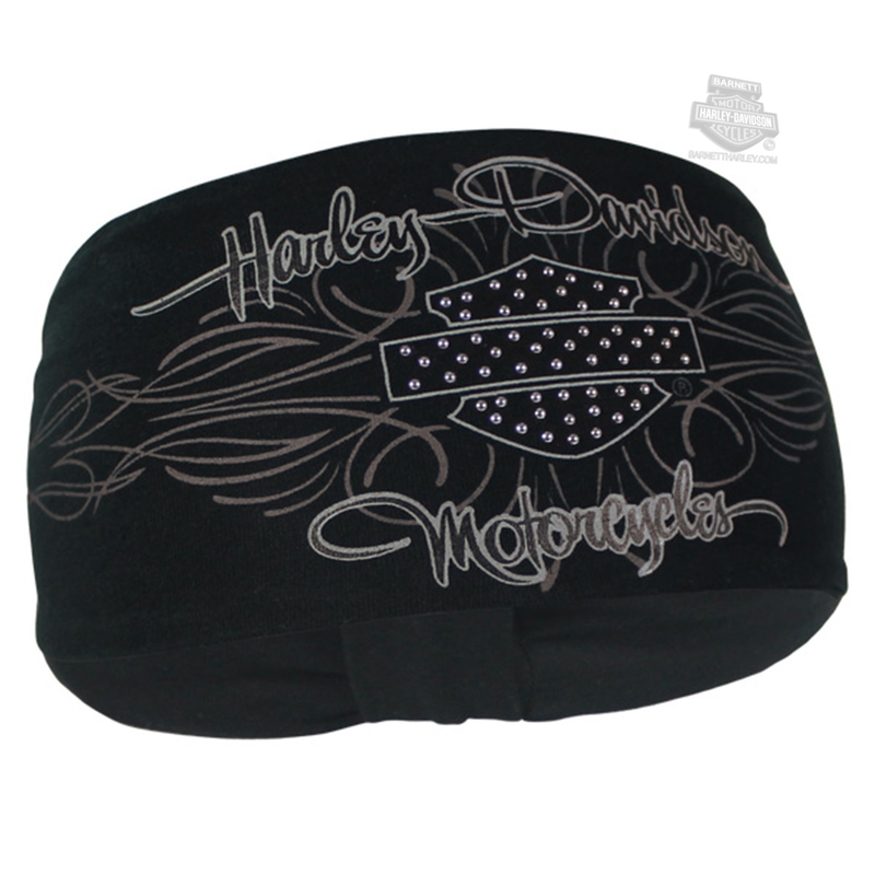 Harley-Davidson® Womens Studded Signature Pinstripe with B&S Black Polyester Headband