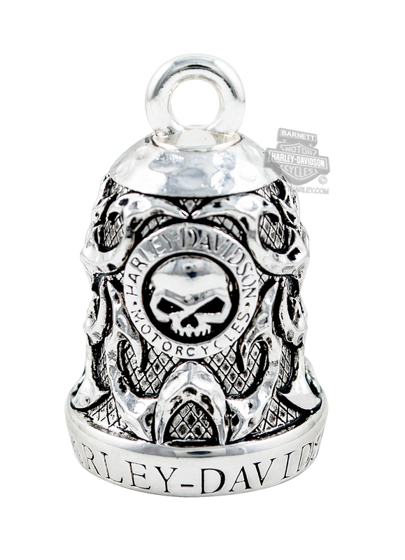 Harley-Davidson® Mens .925 Silver Willie G Skull & Tribal Flame Ride Bell by Mod Jewelry®