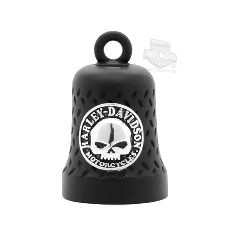 Harley-Davidson® Mens Black Matte Willie G Skull with B&S Diamond Plate Ride Bell by Mod Jewelry®