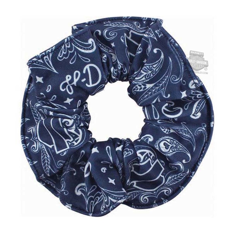 Harley-Davidson® Womens H-D Script with B&S Navy Polyester Hair Scrunchie