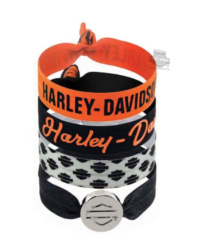 Harley-Davidson® Womens Basic Collection Set of Four Ribbon Poly Blend Hair Ties