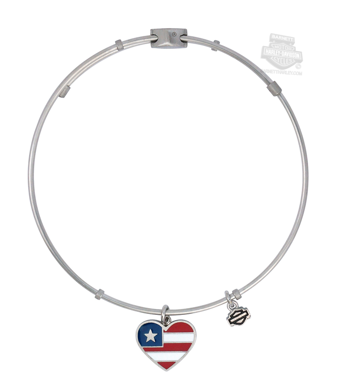 Harley-Davidson® Womens Stainless Steel Red, White and Blue Heart Charm Bangle Bracelet by Mod Jewelry®