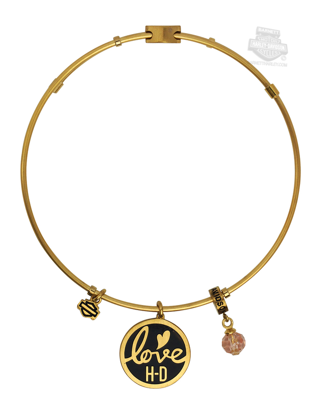 Harley-Davidson® Womens Stainless Steel Gold Tone Love H-D Charm Bangle Bracelet by Mod Jewelry®