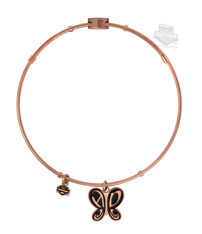 Harley-Davidson® Womens Stainless Steel Rose Gold Tone Butterfly Charm Bangle Bracelet by Mod Jewelry®