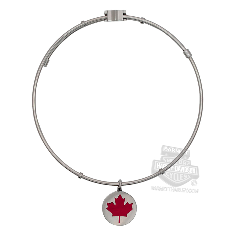 Harley-Davidson® Womens Stainless Steel Oh Canada Maple Leaf Charm Bangle Bracelet by Mod Jewelry®