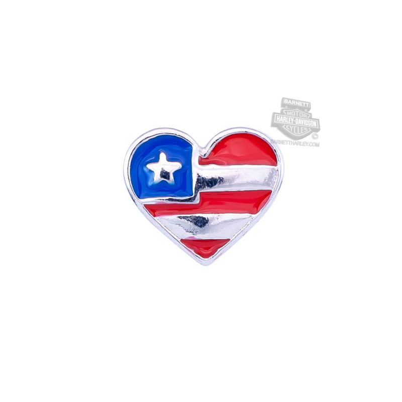 ** 2 for $10 ** Harley-Davidson® Womens Stainless Steel Enameled Flag Heart Locket Charm by Mod Jewelry®