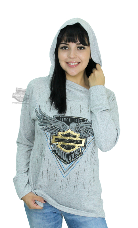 Harley-Davidson® Womens FCP3 H-D 115th Anniversary Cowl Neck Pullover Grey Long Sleeve Hoodie by FCP Brands, Inc.