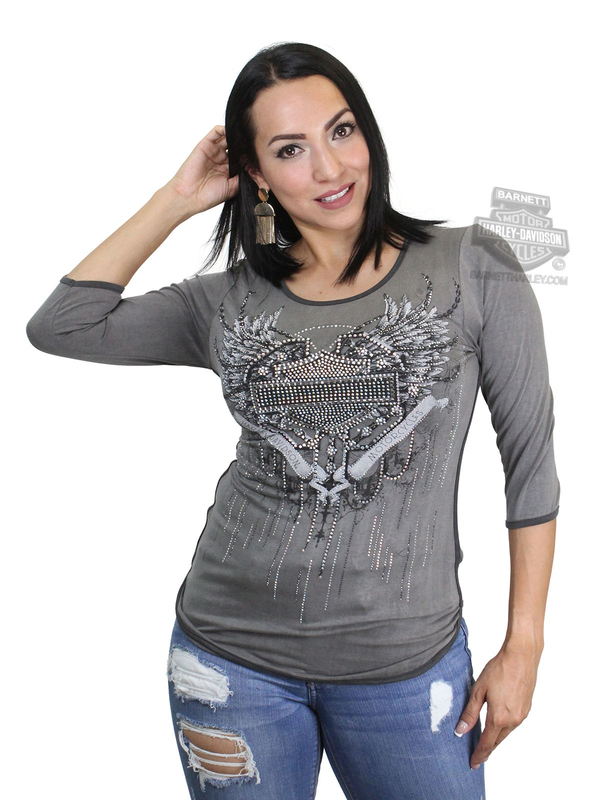Harley-Davidson® Womens Fly Free Winged B&S Contrast Trim Grey 3/4 Sleeve T-Shirt by FCP Brands, Inc.