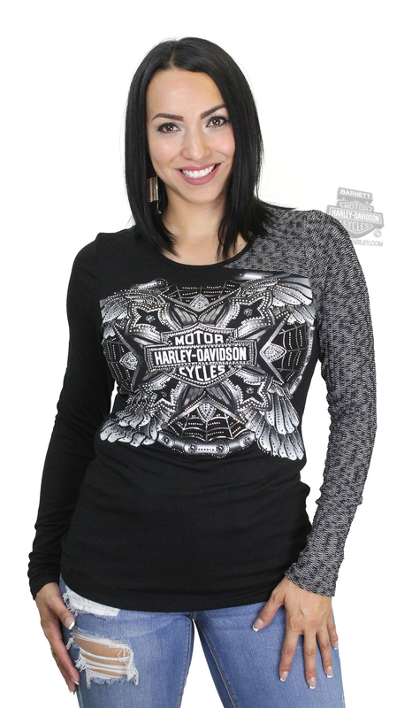 Harley-Davidson® Womens Fullmetal B&S Colorblock Black Long Sleeve T-Shirt by FCP Brands, Inc.