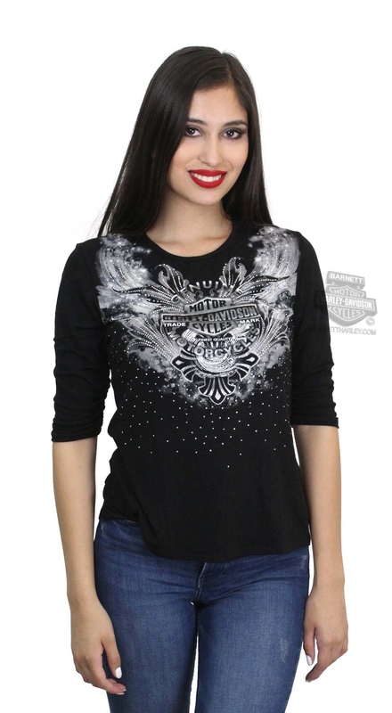 Harley-Davidson® Womens Flutter Trademark B&S Lace Back Black 3/4 Sleeve T-Shirt by FCP Brands, Inc.