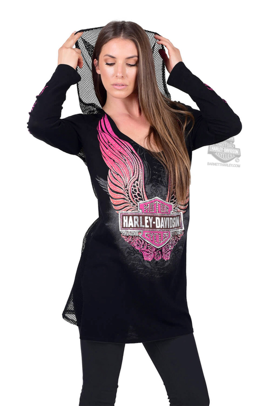 Harley-Davidson® Womens Rose of the Road Winged Trademark B&S Coverup Black Long Sleeve Hoodie by FCP Brands, Inc.