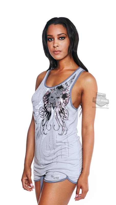 Harley-Davidson® Womens Across Too Wings Willie G Skull Racerback Grey Sleeveless Tank by FCP Brands, Inc.
