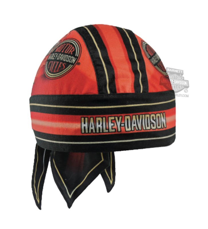 Harley-Davidson® Mens H-D Circle Name Red Cotton Headwrap
