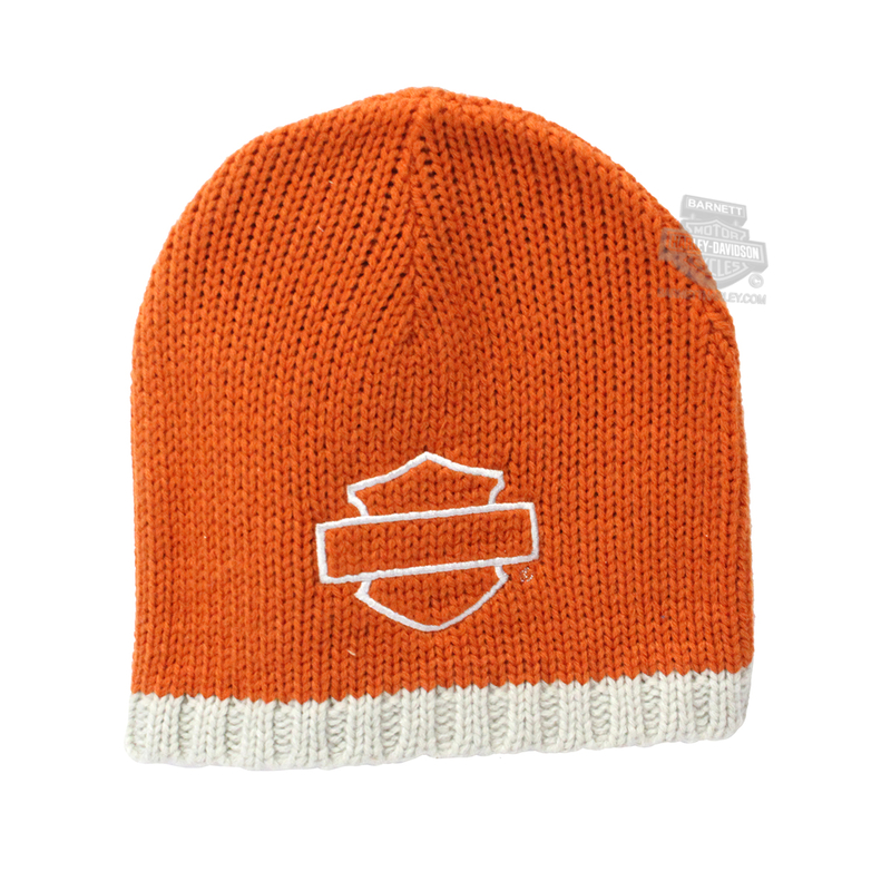 Harley-Davidson® Mens Blank B&S BHD Custom Name Drop Orange Acrylic Knit Cap