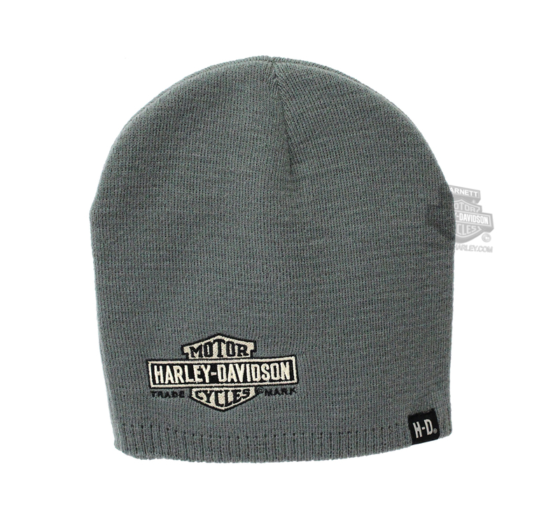 Harley-Davidson® Mens Nostalgic Trademark B&S BHD Custom Name Drop Grey Acrylic Blend Knit Cap