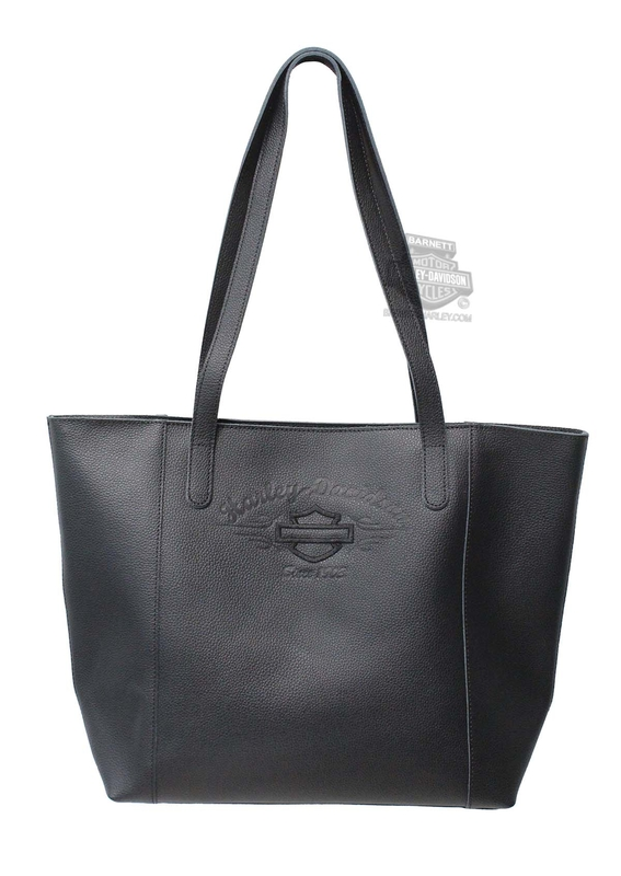 Harley-Davidson® Womens B&S Script Embossed Black Leather Tote Bag