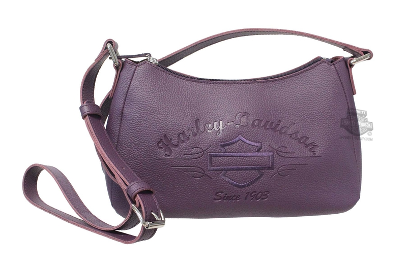 Harley-Davidson® Womens B&S Script Embossed Purple Leather Shoulder Bag
