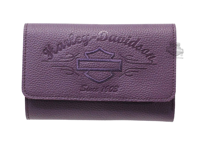 Harley-Davidson® Womens B&S Script Embossed Purple Leather Wallet