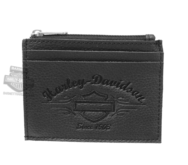 Harley-Davidson® Womens B&S Script Embossed Derby Black Leather Pocket Wallet