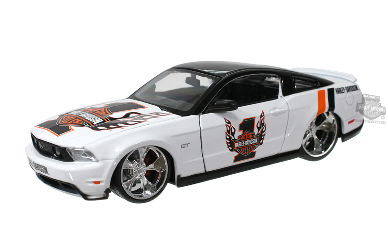 Harley-Davidson® 2011 Ford Mustang GT White with Flaming B&S #1 Logo White Model Car 1:24 Scale