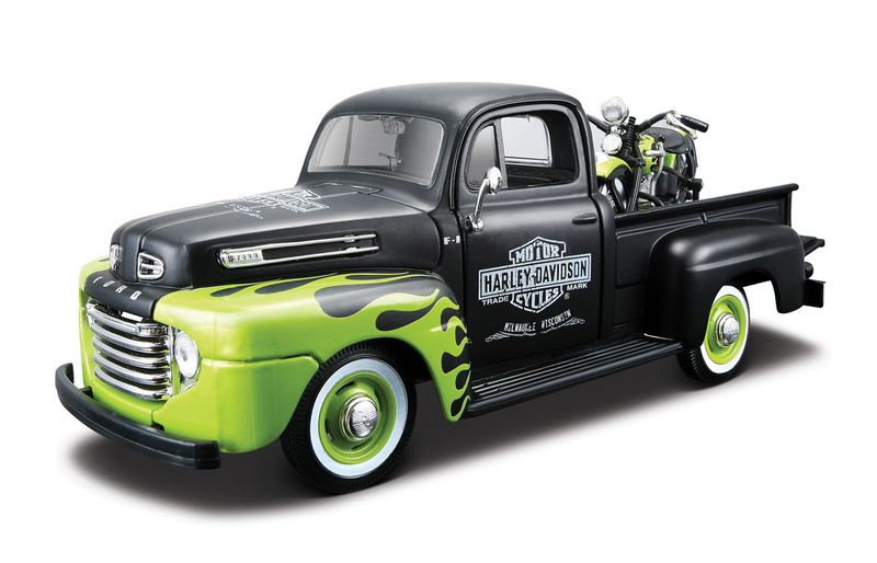 Harley-Davidson® 1948 Ford F-1 Pickup Black with Green Flames + 1948 FL Panhead®