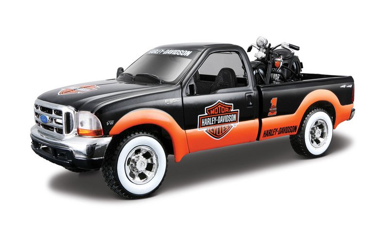 Harley-Davidson® 1999 Ford F-350 Super Duty Pickup Black/Orange with White Tires + 1936 EL Knucklehead™