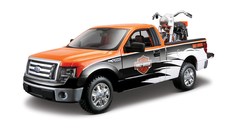 Harley-Davidson® 2010 Ford F-150 STX Orange Top with Black/White Sides + 1958 FLH Duo Glide™