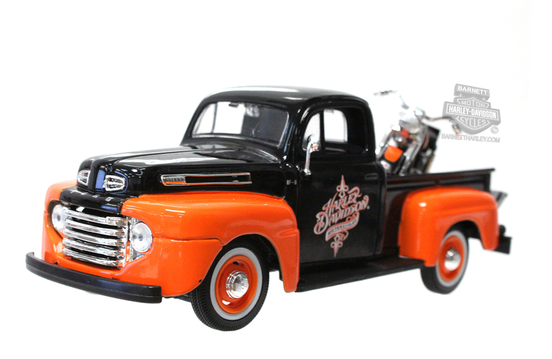 Harley-Davidson® 1948 Ford F-1 Pickup Black with Orange Fenders + 1958 FLH Duo Glide Black