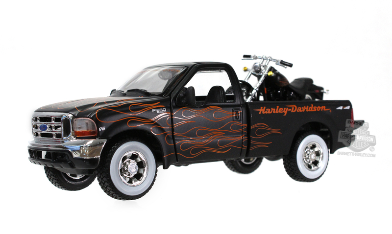 Harley-Davidson® 1999 Ford F-350 Super Duty Pickup Black with Orange Flames + 2002 FXSTB Night Train™ Black Model Truck and Bike