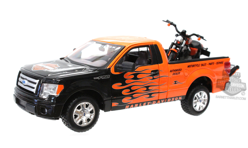 Harley-Davidson® 2010 Ford F-150 STX Orange with Black Flames + 2007 XL 1200 Nightster® Orange Model Truck and Bike Set 1:27 Sca